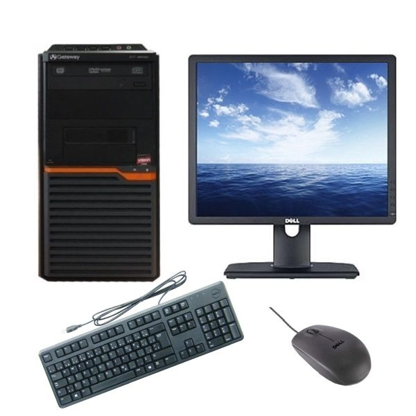 Pachet Refurbished - Sistem Gateway DT55, AMD Athlon II X2 260 3200MHz | 3GB RAM DDR3 | Hard Disk 320GB S-ATA | DVD-RW | Video ATI® Radeon HD4250 | Licență Windows 7 PRO COA + Monitor DELL LED 19 inch