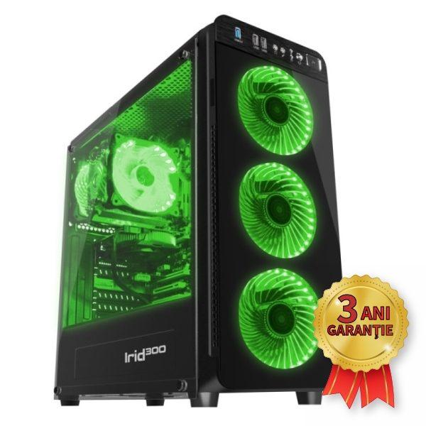 Sistem Nou GENESIS IRID 300 GREEN, Intel® Core™ i7-2600 up to 3800MHz | 8GB RAM DDR3 | SSD 256GB SerialATA 6Gbps | Video NVIDIA® GeForce™ GT 520 1GB | Licență Windows 10 PRO