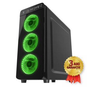 Sistem Nou GENESIS IRID 300 GREEN, Intel® Core™ i7-2600 up to 3800MHz | 8GB RAM DDR3 | SSD 256GB SerialATA 6Gbps | Video NVIDIA® GeForce™ GT 520 1GB | Licență Windows 10 PRO