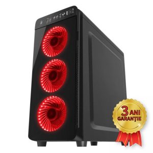 Sistem Nou GENESIS IRID 300 RED, Intel® Core™ i7-4770 up to 3900MHz | 8GB RAM DDR3 | SSD 180GB SerialATA 6Gbps + Hard Disk 750GB S-ATA | Video NVIDIA® GeForce™ GT 610 1GB | Licență Windows 10 PRO